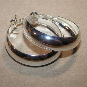Smooth High Shine Rounded Hoop Earrings